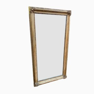Antique French Carved Wood & Gesso Distressed Gilt Mirror