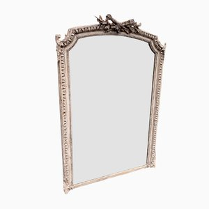 Antique French Carved Wood & Gesso Shaped Mirror