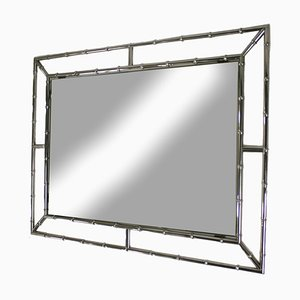 Spiegel mit Rahmen aus Kunstbambus & Chrom, 1960er