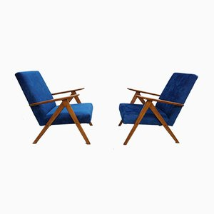 Velvet Model B310 Armchairs, 1960s, Set of 2