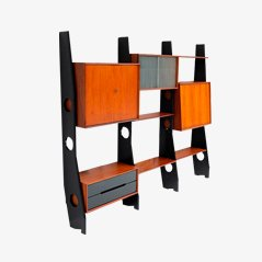 Dutch Wooden Wall Unit, 1960s