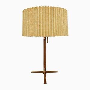 Lámpara de mesa de teca y latón de J. T. Kalmar para Kalmar, años 50