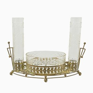 Antique American Carved Brass and Glass Centerpiece
