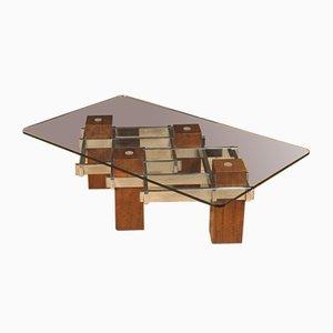 Mesa de centro italiana de madera, metal y cristal, años 70