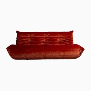 Model Togo Red Velvet Sofa by Michel Ducaroy for Ligne Roset, 1970s