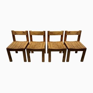 Vintage Solid Pine Wood Dining Chairs, Set of 4