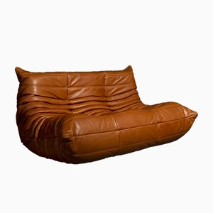 Cognac Leather Togo Two Seat Sofa by Michel Ducaroy for Ligne Roset, 1973
