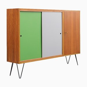 Walnut Highboard with Color Reversible Doors, 1960s