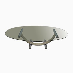 Italian Chromed Brass and Glass Arch Dining Table, 1970s