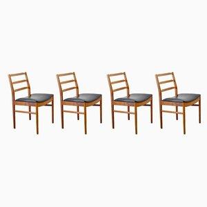 Sedie da pranzo vintage in legno e pelle, set di 4