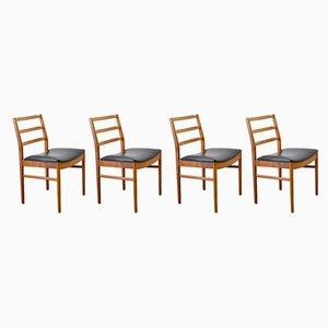 Vintage Wood and Leather Dining Chairs, Set of 4