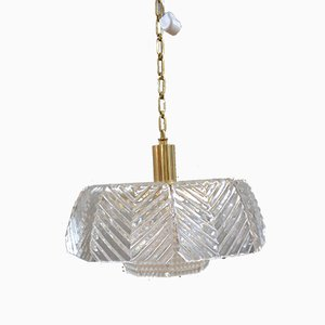 Crystal Glass Pendant Lamp by Carl Fagerlund for Orrefors, 1960s