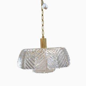 Lampe à Suspension en Verre Cristal par Carl Fagerlund pour Orrefors, années 60