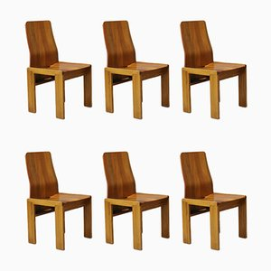 Vintage Wood Dining Chairs by Tobia & Afra Scarpa, Set of 6