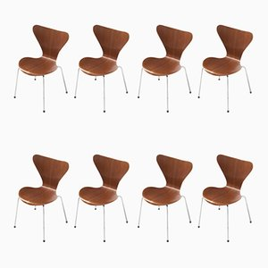 Teak Series 7 Dining Chairs by Arne Jacobsen for Fritz Hansen, 1950s, Set of 8
