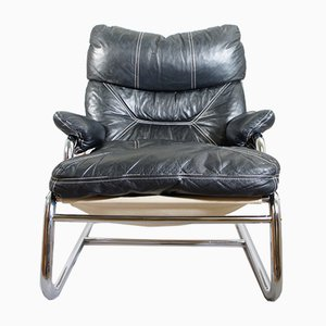 Sessel aus Leder, Stahl & Leinen, 1970er