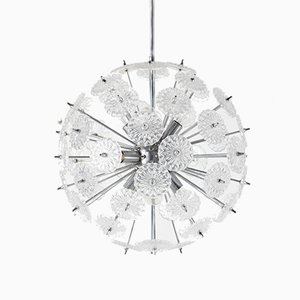 Chrome and Glass Sputnik Ceiling Lamp from Val Saint Lambert, 1960s