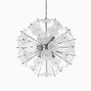 Chrome and Glass Sputnik Ceiling Lamp from Val Saint Lambert, 1960s