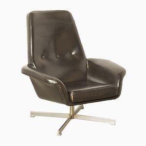 Sessel mit Bezug aus schwarzem Skai, 1960er