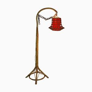 Stehlampe aus Bambus & Korbgeflecht, 1950er