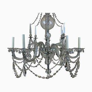 Lámpara de araña antigua de cristal tallado