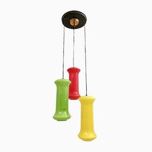 Lámpara de araña con tres luces de vidrio enjaulado de Vistosi, años 50