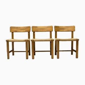 Sillas auxiliares escandinavas de madera, años 60. Juego de 3