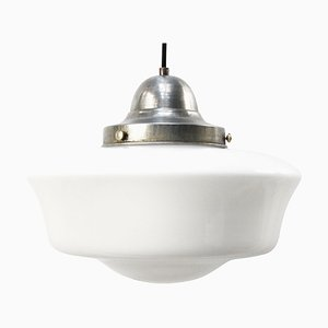 Mid-Century White Opaline Glass and Metal Pendant Lamp