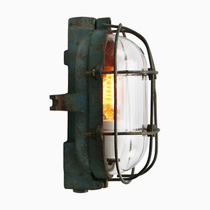 Mid-Century Cast Iron and Clear Glass Sconce by Industria Rotterdam
