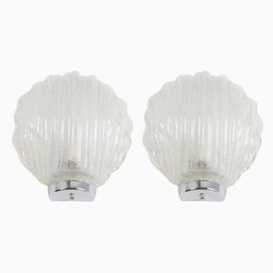 Austrian Ice Glass Shell Sconces, 1970s, Set of 2
