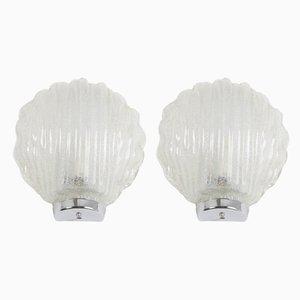 Muschelförmige österreichische Wandlampen aus Eisglas, 1970er, 2er Set