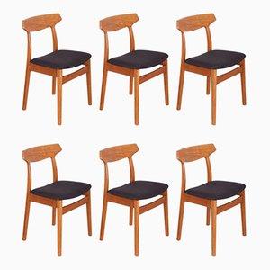 Esszimmerstühle aus Eiche von H. Kjaernulf für Bruno Hansen, 1960er, 6er Set