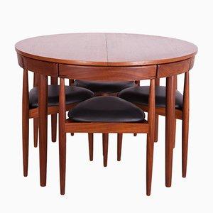 Tavolo da pranzo Mid-Century in teak con quattro sedie di Hans Olsen per Frem Røjle, anni '50