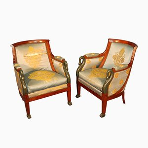 Carved Cherry Wood and Mahogany Empire Lounge Chairs, 1930s, Set of 2