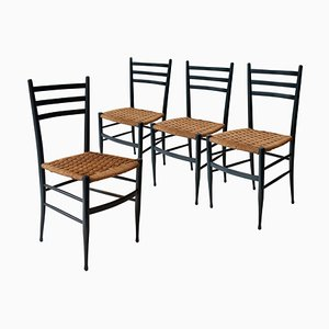 Mid-Century Black Lacquered Natural Fiber Dining Chairs, Set of 4