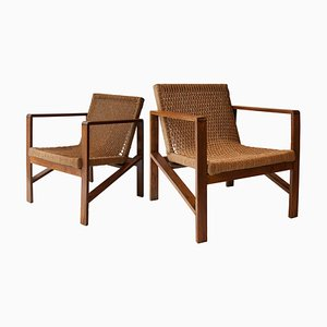 Oak and Natural Fiber Armchairs, 1950s, Set of 2
