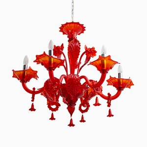 Red Murano Glass Chandelier from Sylcom, 1987