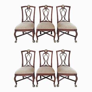 Amerikanische Esszimmerstühle aus Schilfrohr, Aluminium & Leder von Casa Bique, 1980er, 6er Set
