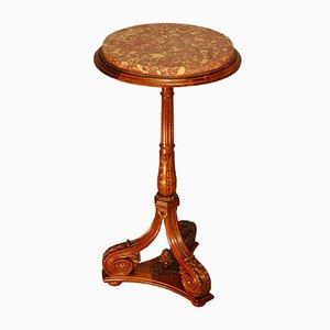 Antiker Säulentisch aus Nussholz mit pinker Marmorplatte