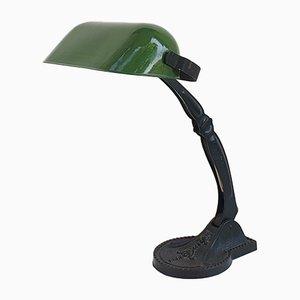 Industrielle Tischlampe mit grün emailliertem Lampenschirm, 1930er