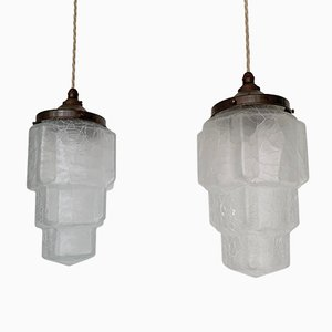 Vintage Crackle Frosted Glass Shades Ceiling Lamp