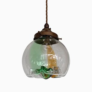 Mid-Century Green, Brown And Clear Murano Glass Shade