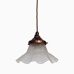 Vintage Crackle Glass Frill Ceiling Lamp