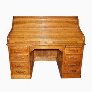 American Light Oak Roll-Front Desk from St. Gallen, 1920s