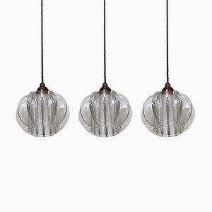 Mid-Century Chunky Glass Ceiling Lamp, Set of 3