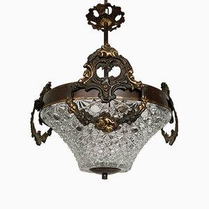 Lámpara colgante de recibidor vintage con pantalla de vidrio facetado