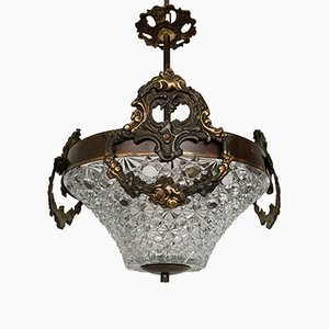 Vintage Hall Pendant with Faceted Glass Shade