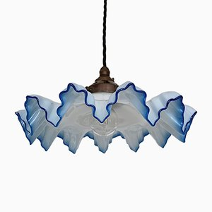 Vintage French Pale Blue Frill Glass Ceiling Lamp