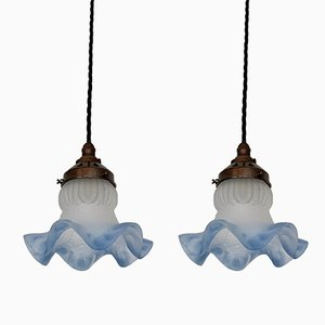 Vintage Blue Edge Frosted Frill Ceiling Lamp, Set of 2