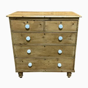 Antique Victorian Fir and Porcelain Dresser